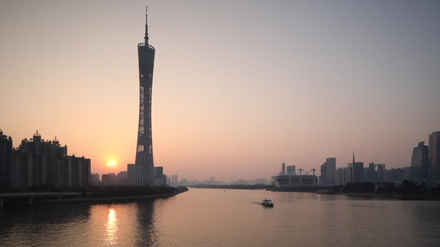 Canton Tower and skyline of Tianhe at sunset, Guangzhou, Guangdong, China, Asia