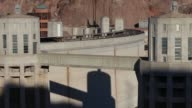 Canyon of the Colorado River that impounds Lake Mead the largest reservoir in the U S Shots of the curved surface side of the Hoover Dam in Boulder...