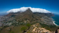 Cape Town and amazing cloud over Table Mountain, South Africa, high angle locked off