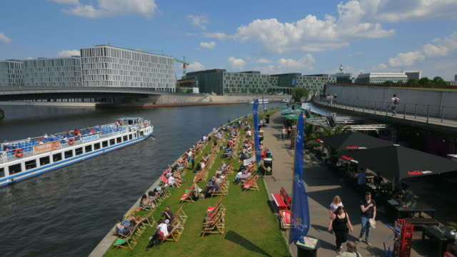 Capital Beach Bar on Spreebogen River Bend, Berlin, Germany