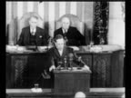 Capitol / US General Douglas MacArthur addresses joint session of Congress in the House of Representatives chamber Vice President Alben Barkley and...