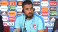 Captain of Turkey's national team Arda Turan speaks during a press conference in Nice France on June 16 2016