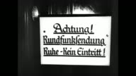 [Captured German footage music and German language VO throughout] Clock on wall shows 528 / WS extension of the Reich Chancellery building as seen...