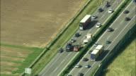 AERIAL ZI Car accident scene on rural highway, Geneva, Switzerland