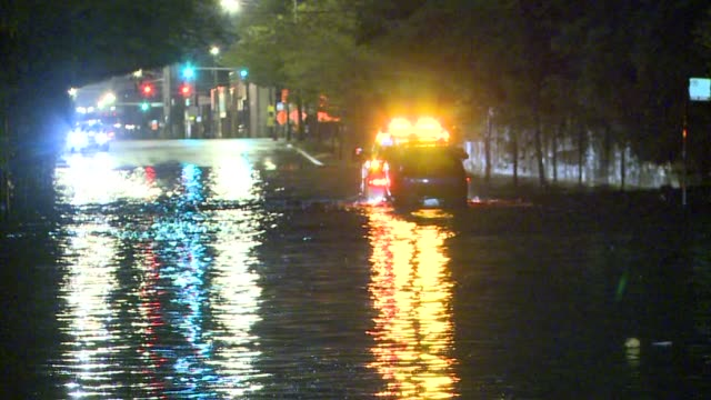 Car Being Towed Away In Flood on September 18 2013 in Chicago Illinois