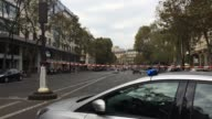 Car bomb alert at Boulevard de la Madeleine in Paris France Police blew up the window to gather clues Antibomb dog squad is visible Police forces all...