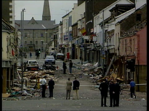 Car bomb at BBC LIB County Tyrone Omagh MS Charred remains of car destroyed by Real IRA bomb TGV Street destroyed by car bomb as police and...