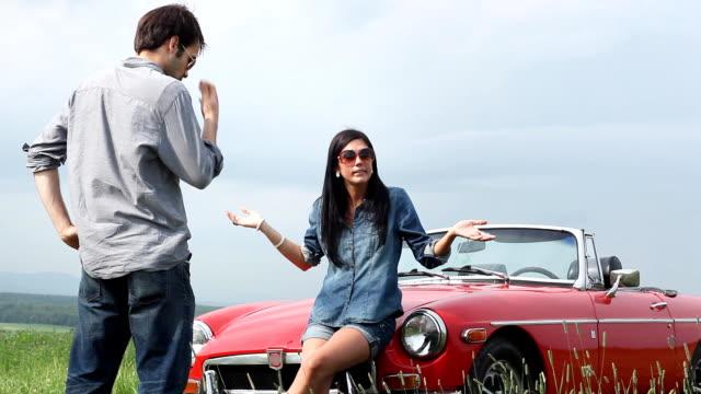 Car Breakdown Road Couple