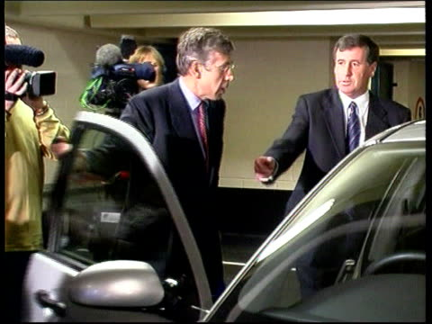 Leicester Home Secretary Jack Straw MP looking inside car in car park then out and walking around vehicle Jack Straw MP interview SOT Talks of...