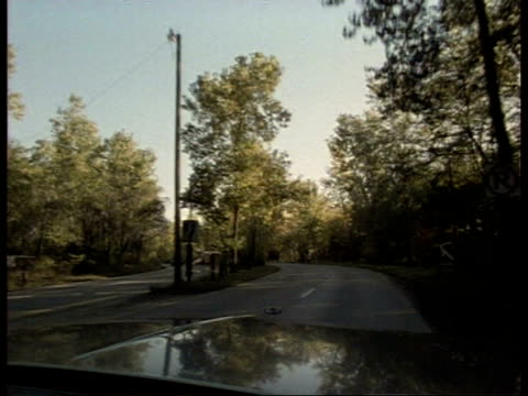 POV car driver passing down tree lined road, autumn, USA