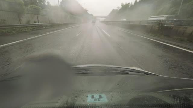 Car driving at rainy highway  -4K-