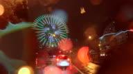 Car driving at rainy night city  -4K-