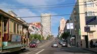 FM WS car POV driving down busy street/ San Fransciso, California