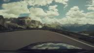 POV Car driving on the Dolomites, European Alps
