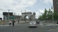 Car POV driving onto Manhattan Bridge heading towards Brooklyn