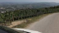 POV of car driving past vineyards, village