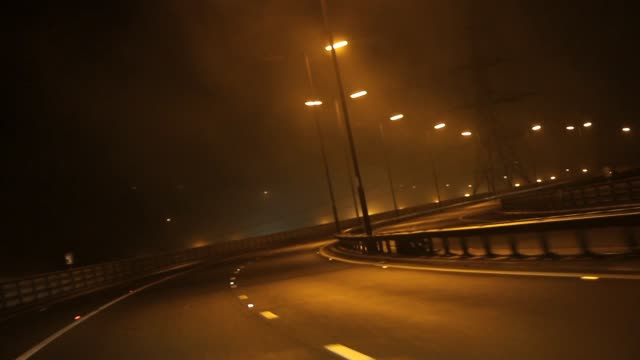 Car POV Driving Shot Along Foggy Highway at Night