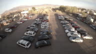 Car impound lot, aerial view