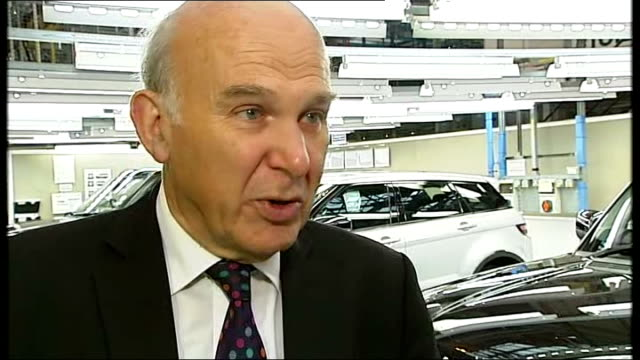 Jaguar Land Rover plant in Wolverhampton GVs / Nick Clegg and Vince Cable visit Vince Cable MP interview SOT re attacking highly paid executives I'm...