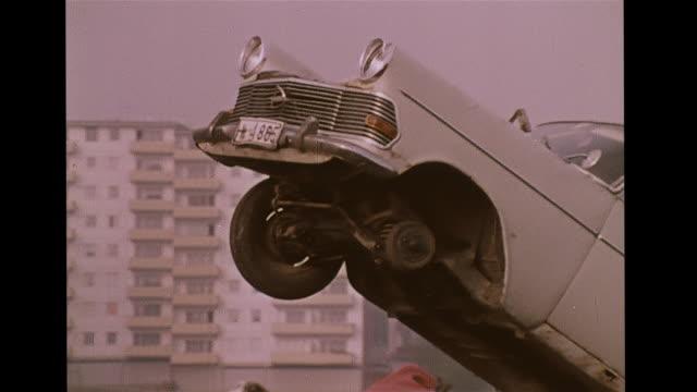 Car junkyard moving crushing vehicles Salvage