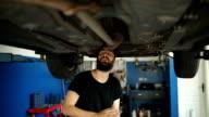 Car mechanic working at workshop