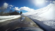 Car Onboard Camera: driving in a snowy road