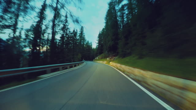 Car onboard camera on a rocky mountain pass