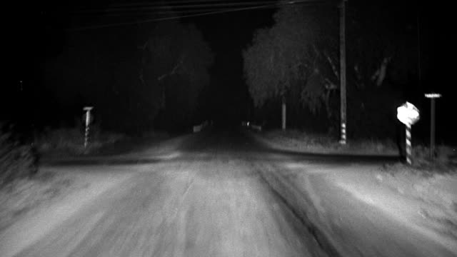 B/W SHAKY car point of view driving on country road, spinning out, + crashing in to tree at night