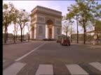 Car point of view in traffic toward Arc de Triomphe / Paris