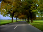 Car point of view on winding country road in autumn