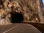 Car point of view on windy mountain road thru tunnel / Amalfi coast, Italy