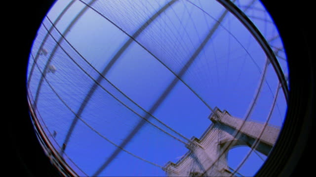 FISHEYE MASKING car point of view time lapse driving on Brooklyn Bridge + looking up / NYC (iris effect)