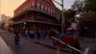 POV car riding on Bourbon Street, New Orleans, Louisiana, USA