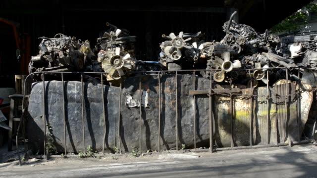 Car scrap in the street of scrap dealers