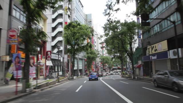 MS POV Car standing at neighborhood of Shibuya / Tokyo, Japan