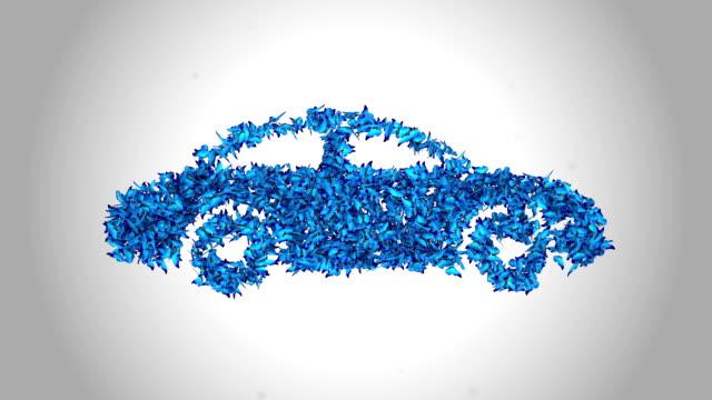 Car Symbol made by Blue Butterflies - Alpha
