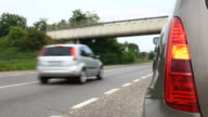 Car Troubles,Emergency Stop on the Freeway, HD Video