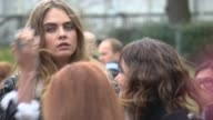 Cara Delevinge at Burberry Prorsum A/W 2015 at Kensington Gardens on February 23 2015 in London England