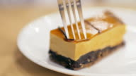 Caramel cake cutting the best time for relaxing at coffee cafe and cake