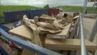 CU, Cardboard recycling bin, Ardley, Oxfordshire, United Kingdom