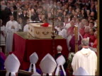 BONG Cardinal Basil Hume's coffin in cathedral during funeral BBC