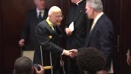 Cardinal Frances George on crutches at a Knights of Columbus award ceremony in Chicago on Jan 31 2015