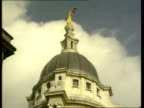 'Care in the Community' Safeguards to be tightened ITN London Central Criminal Court LA MS Dome of the 'Old Bailey' with Scales of Justice statue LA...