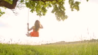 SLO MO Carefree girl on a tree swing
