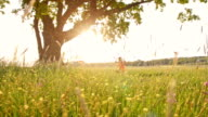 SLO MO Carefree girl swinging in the meadow