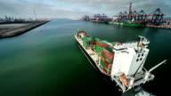 Cargo Container Ship - Aerial