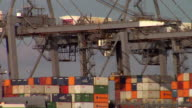 MS Cargo containers and cranes at commercial dock, Hampshire, United Kingdom