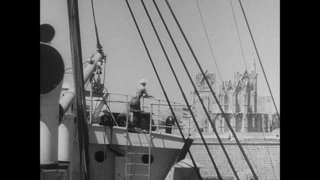 MONTAGE Cargo is unloaded from the deck of the SS Ionian / Famagusta, Cyprus