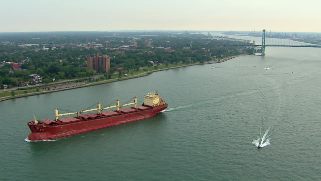 Cargo Ship In Windsor Detroit Area