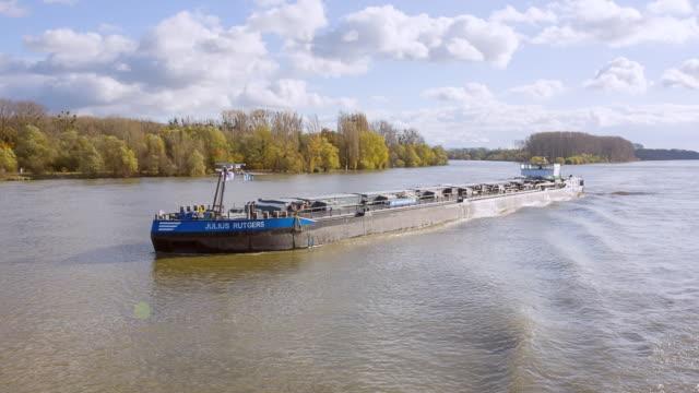 WS POV Cargo Ship on River Rhein / Koblenz, Germany